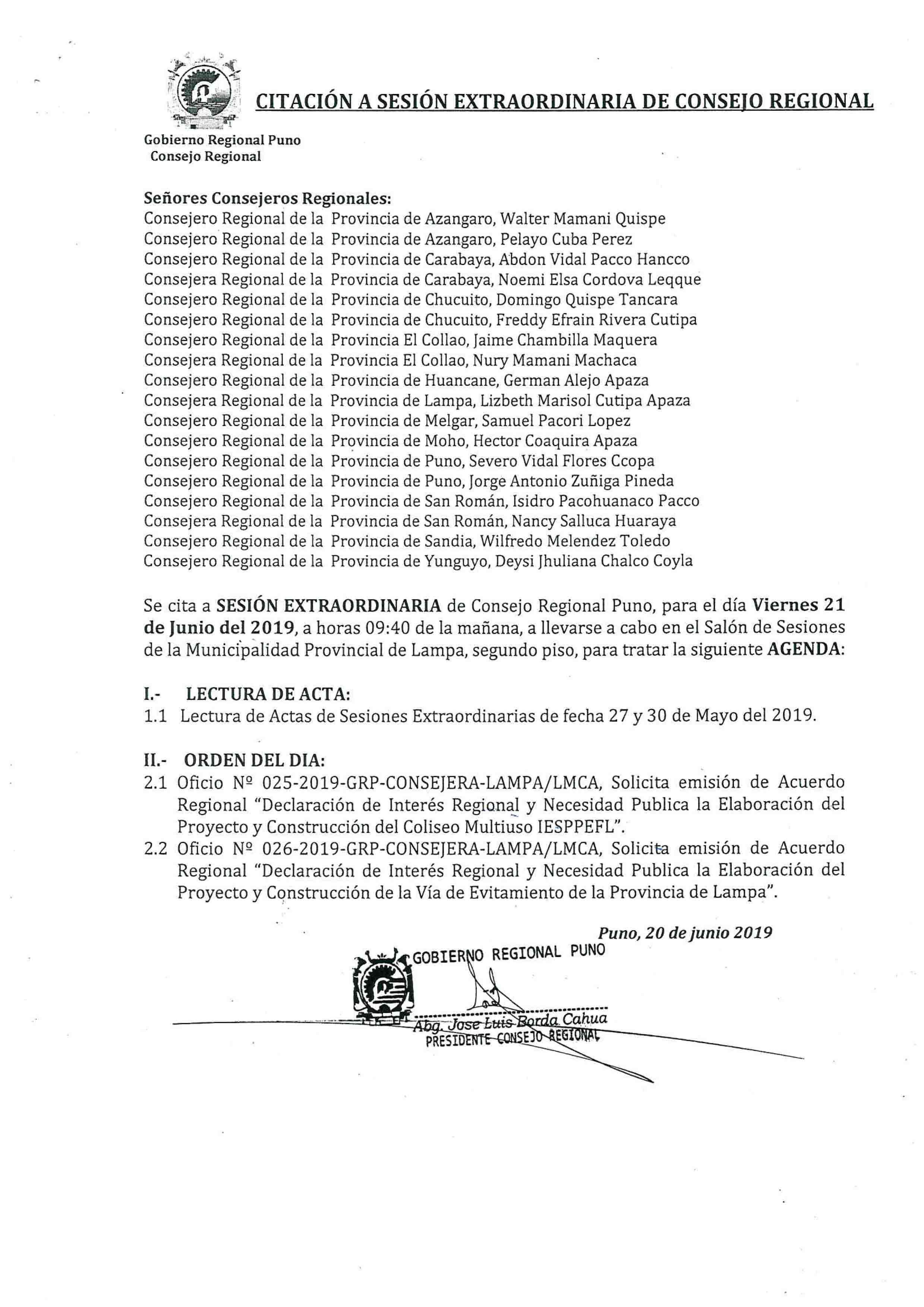 SESIÓN EXTRAORDINARIA DE CONSEJO REGIONAL @ Sala de Sesiones de la Municipalidad Provincial de Lampa